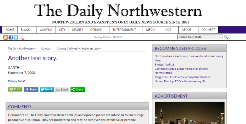 Nowadays we don't see many articles like this one from famous Medill Alum Garth. It really examines the underside (lol pun intended) of Northwestern.