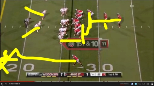 As you can see here, guys moved on yellow lines and then they threw a touchdown to the big blob of yellow in the corner.